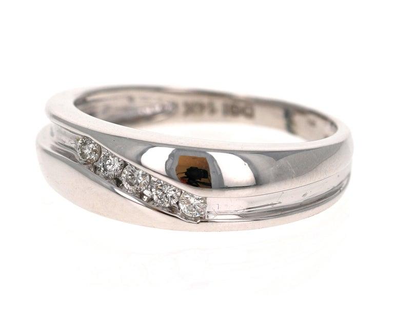 Modern 0.25 Carat Round Cut Diamond Men's Wedding Band 14 Karat White Gold For Sale