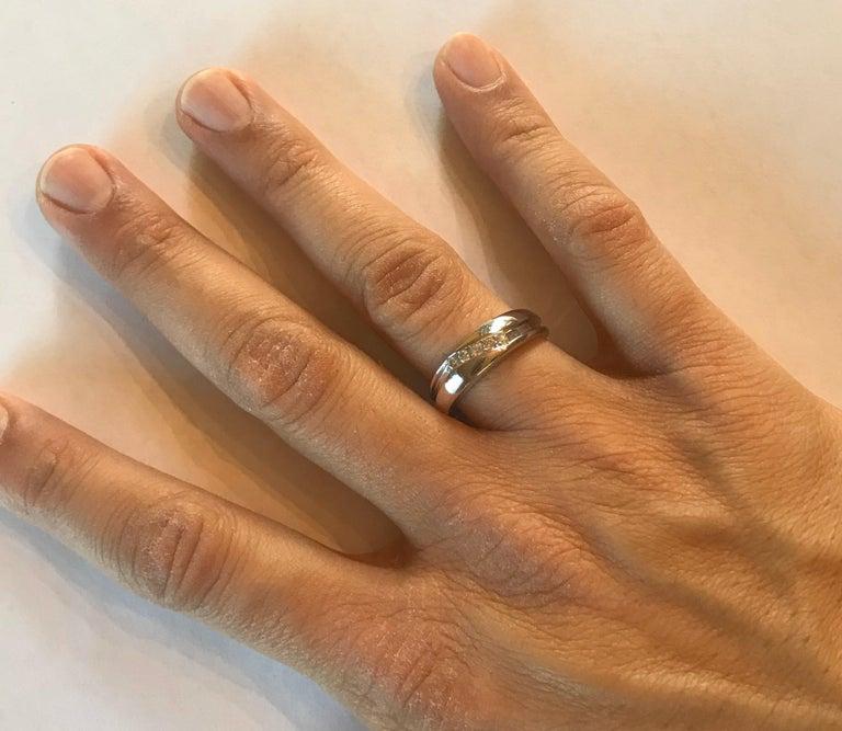 0.25 Carat Round Cut Diamond Men's Wedding Band 14 Karat White Gold For Sale 2