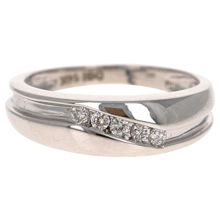 0.25 Carat Round Cut Diamond Men's Wedding Band 14 Karat White Gold For Sale