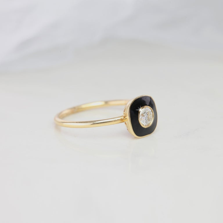 Art Deco Style Black Enameled Diomand Ring Artdeco Style Black Enameled 0.25 Carat Dainty Stackable Ring Statement Ring Gift for Her created by hands from ring to the stone shapes.  I used brillant artdeco style black enameled to reveal a round