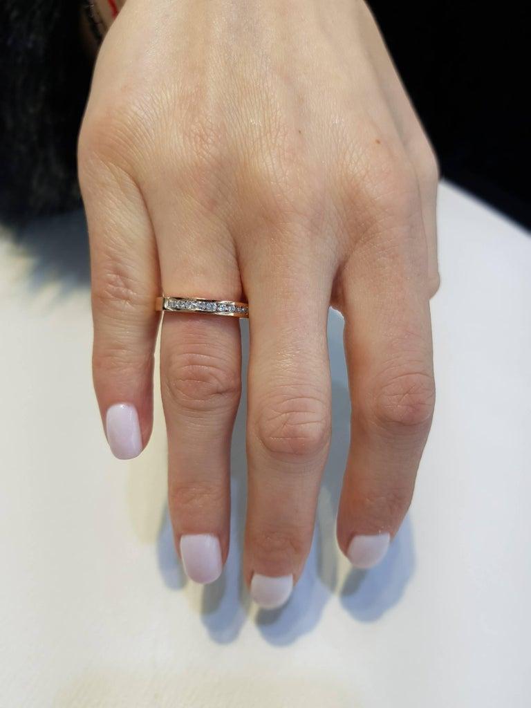 Round Cut 0.25 Carat Round Diamond Channel Set Half Eternity Band Ring 18 Karat Rose Gold For Sale