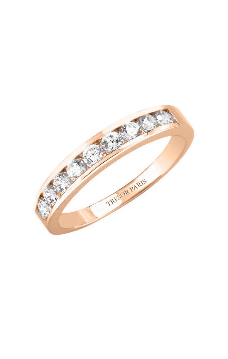 Modern 0.25 Carat Round Diamond Channel Set Half Eternity Band Ring 18 Karat Rose Gold For Sale