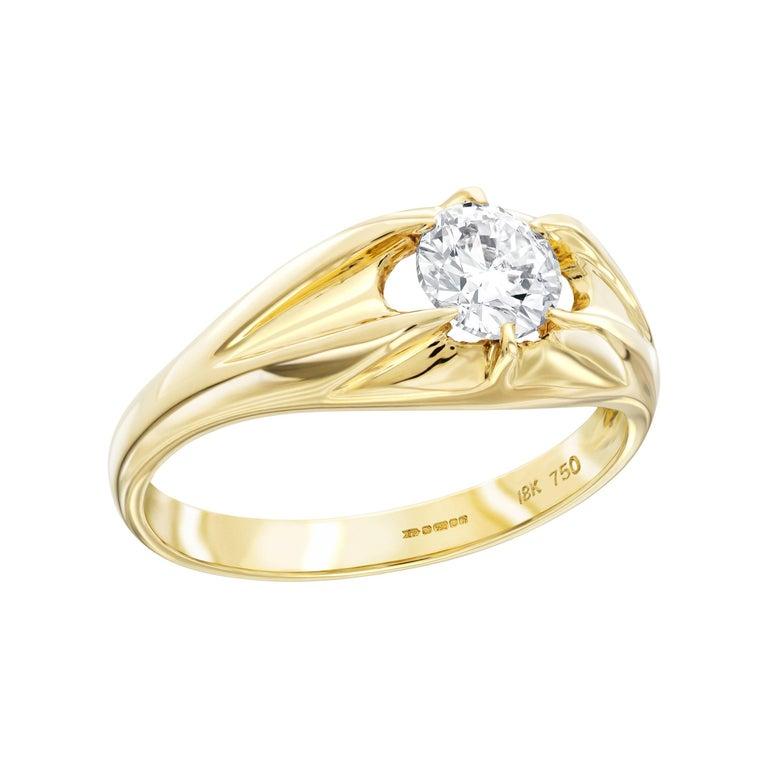 0.25 Carat Round White Diamond 18 Karat Yellow Gold Men's Claw Set Band Ring