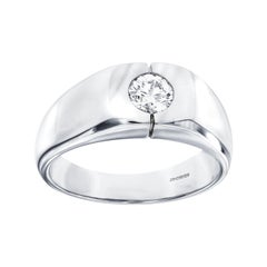 0.25 Carat Round White Diamond 18 KT White Gold Men's Signet Ring