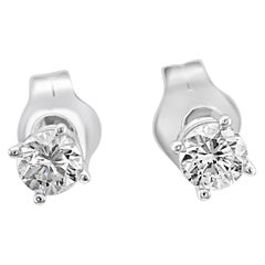 0.25 Carat Total Weight White Diamond Gold Push Back Stud Earrings
