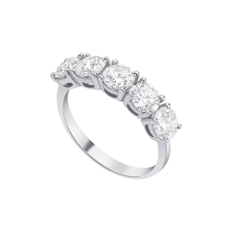 0.25 Carat White Round Diamond 5 Stone 18KT Gold Half Eternity Modern Band Ring