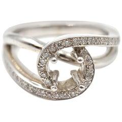 0.25 Carats Round Diamond 14 Karat White Gold Semi-Mount Engagement Ring