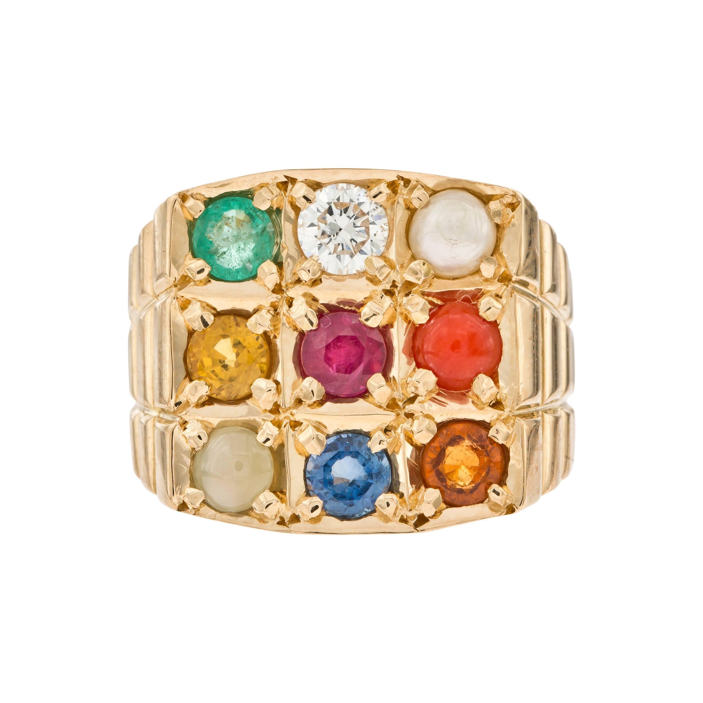 0.25 CT Diamond Multi Stone 18 KT Yellow Gold Sapphire Emerald Ruby Signet Ring