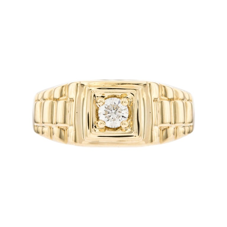 0.25 CT Round White Diamond 18 KT Yellow Gold Tresor Paris Solitaire Signet Ring For Sale