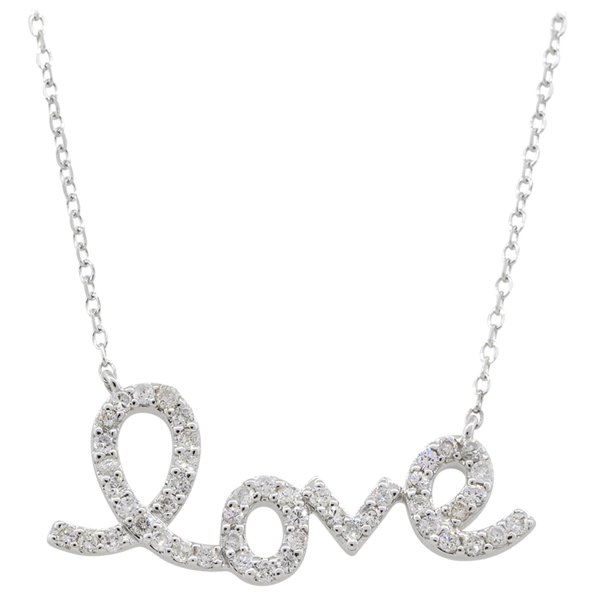 "0.26 Carat Diamond Pave ""Love"" Pendant Necklace 14 Karat in Stock"