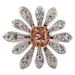 0.26 Carat Natural Fancy Pink Diamond and White Diamond Flower Cocktail Ring