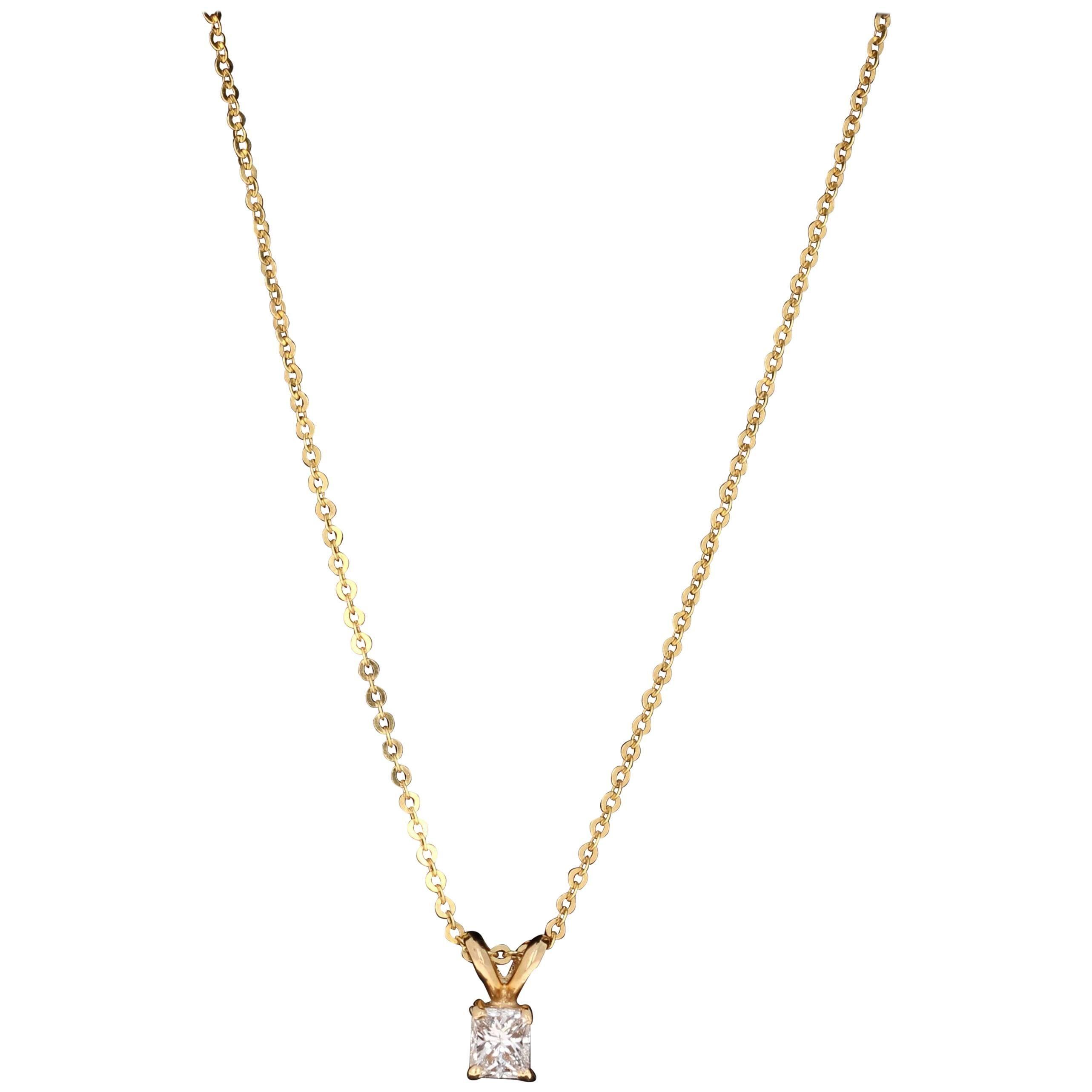 0.26 Carat Princess Cut Diamond Yellow Gold Chain Necklace