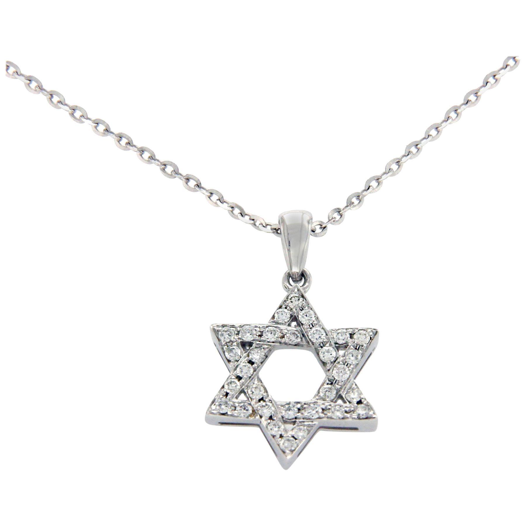 NO Chain 14k White,Yellow or Rose Gold Star of David Diamond Pendant 0.09ct