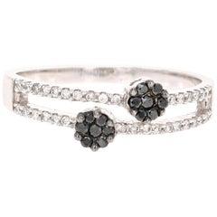 0.27 Carat Black Diamond Flower Ring 14 Karat White Gold