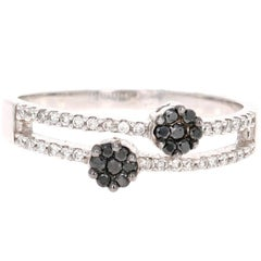 0.27 Carat Black Diamond Flower Ring 14 Karat White Gold