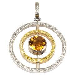 0.27 Carat Citrine Round Diamond Pendants in 18 Karat Two-Toned