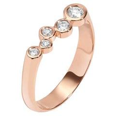 0.27 Carat Diamond Alternative Wedding Band 14 Karat Rose Gold Bar Ring