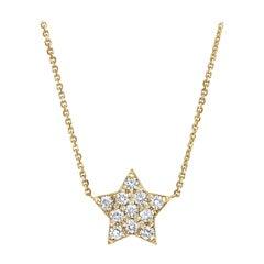 0.27 Carat Diamond Large Star Pendant Necklace in 14K Yellow Gold -Shlomit Rogel