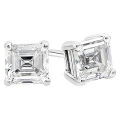 0.27 Carat Total Asscher Cut Diamond Stud Earrings