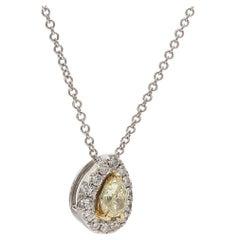 0.27 Carat Natural Yellow Pear Shape with White Diamond Halo Pendant
