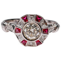 0.27 Ct Ruby Diamond 18Kt White Gold Round Cocktail Halo Ring New Art Deco