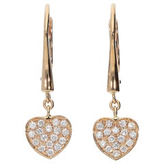 0.27 White GVS Diamonds 18 Karat Pink Gold Heart Pavè Dangle Earrings
