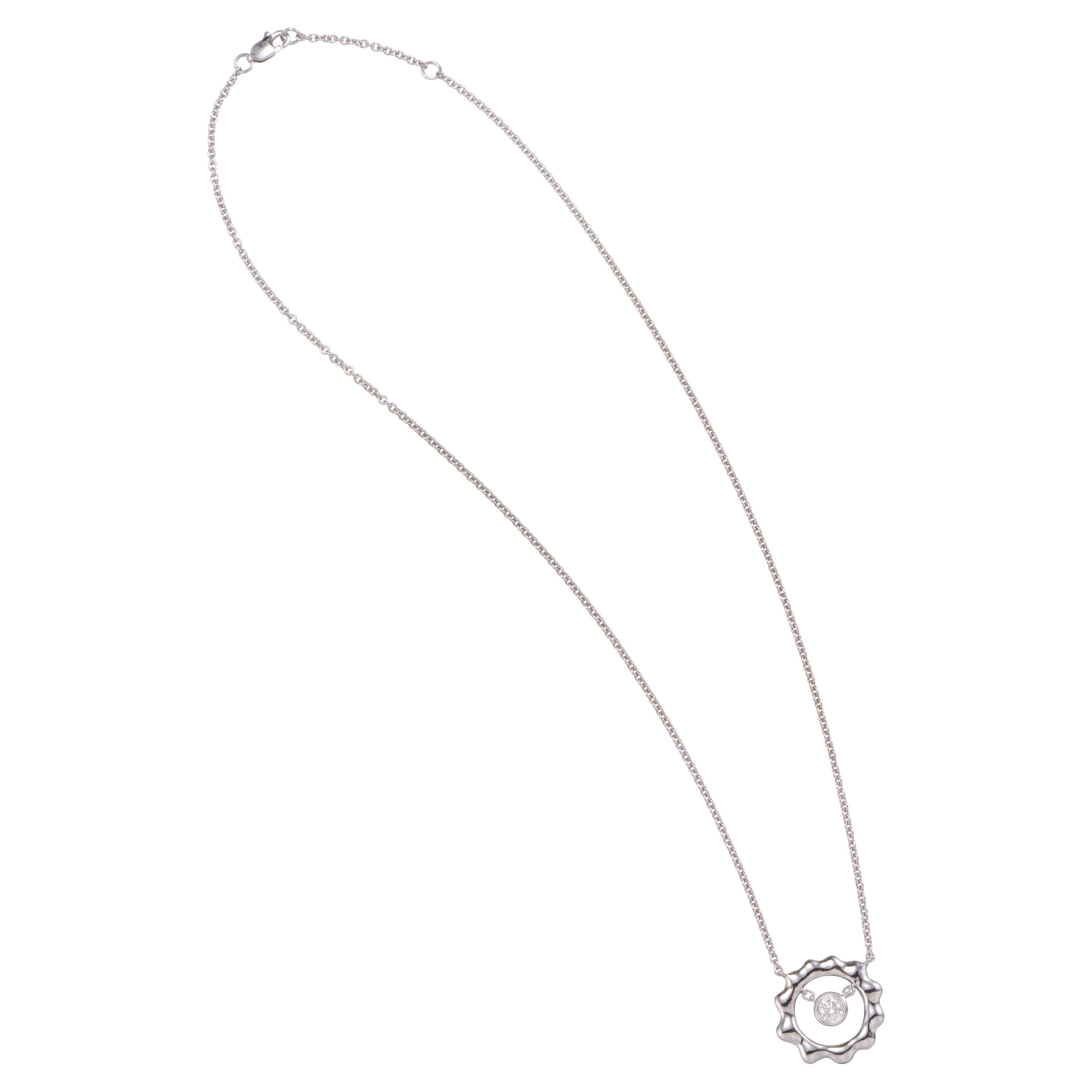 0.28 Carat Diamond 18 Karat White Gold Pendant Necklace
