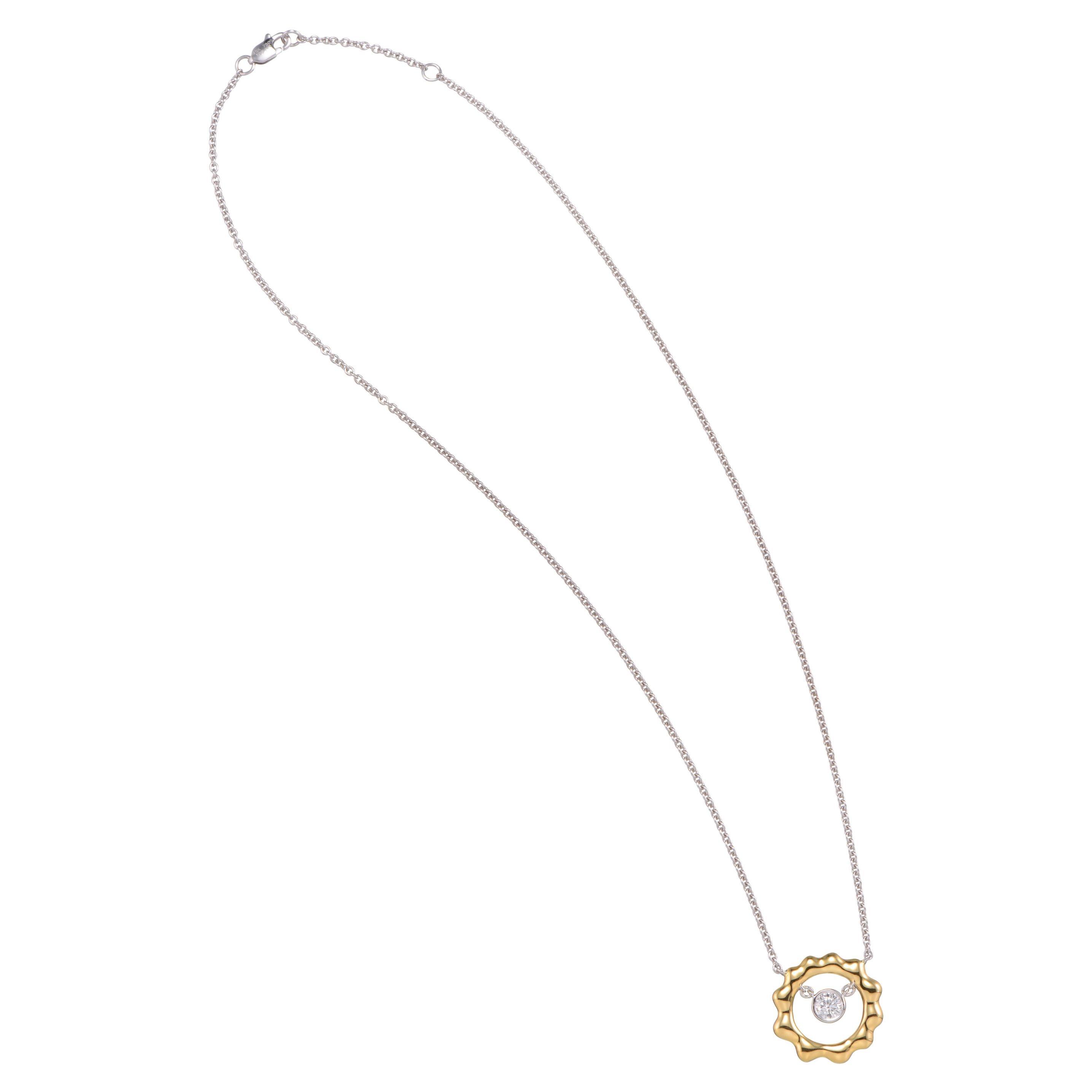 0.28 Carat Diamond 18 Karat Yellow White Gold Pendant Necklace