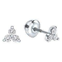 0.28 Carat Diamond Trinity Stud Earrings in 14 Karat White Gold, Shlomit Rogel
