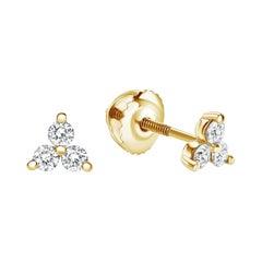 0.28 Carat Diamond Trinity Stud Earrings in 14 Karat Yellow Gold - Shlomit Rogel