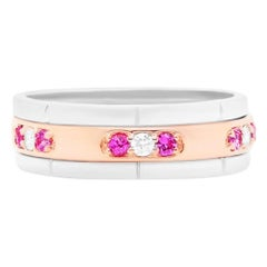 0.28 Carat Pink Sapphire and Diamond Ring Band