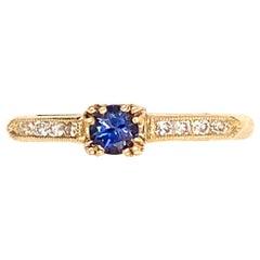 0.28 Carat Round Benitoite and Diamond 14 Karat Gold Ring