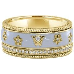 0.28 Carat White Diamond Enamel Floral Motif Ring Set in 18 Karat Yellow Gold