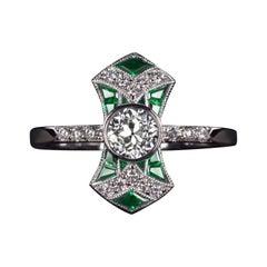 GIA Certified Emerald Art Deco Style Ring Diamond Old Mine European Cut