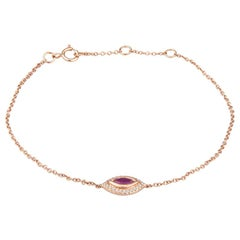 0.28ct Marquise Cut Pink Sapphire and 0.05ct Accent Diamond Evil Eye Bracelet