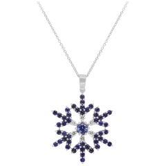 0.29 Carat Round Blue Sapphire White Diamond Snowflake Pendant Necklace 14K Gold