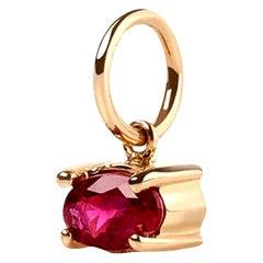 0.29 Carat Oval Ruby Stone Charm 14 Karat Gold