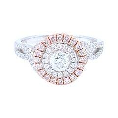 0.29 Carat Round White and Pink Diamond Halo Ring Set in 14 Karat Gold