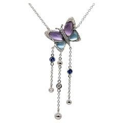 0.29 Carat Sapphire Butterfly Pendant with Diamonds 18 Karat