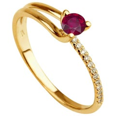 0.3 Carat 14 Karat Rose Gold Round Ruby Delicate Engagement Ring