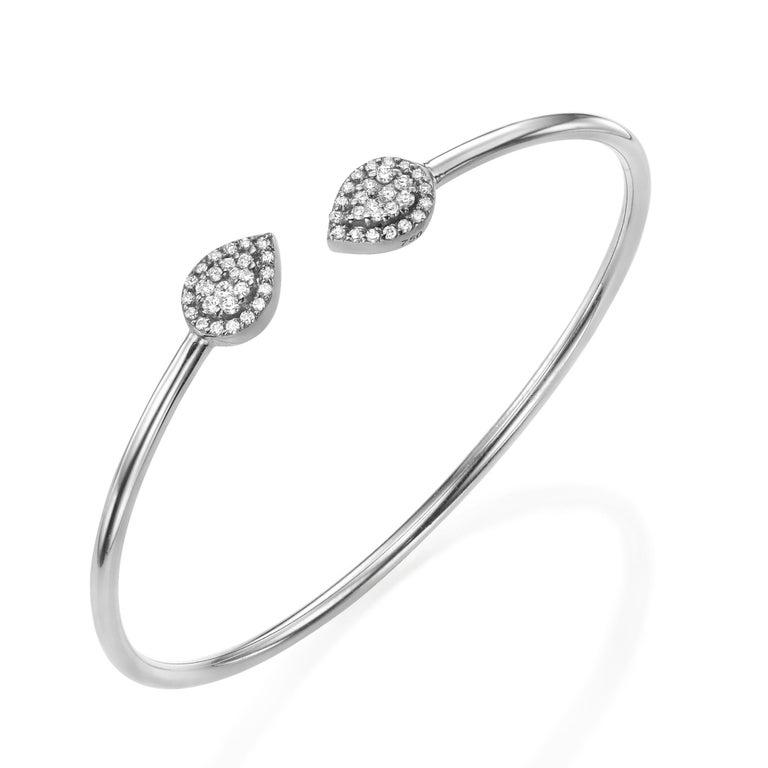 0.3 Diamond Bangle. Pear Shape Bracelet. 18k Gold Bracelet. Diamond Bangle. Available in 3 Gold (white-yellow-rose). Adjustable Diamond Bangle