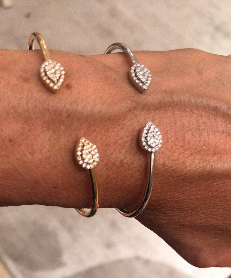 Women's or Men's 0.3 Carat Diamond Bangle, Pear Shape Bracelet, 18K Gold Bracelet, Diamond Bangle For Sale