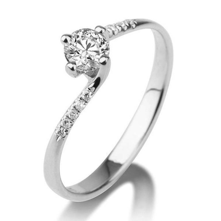 Platinum Diamond Engagement Ring, Twist Diamond Ring, Designer Engagement Ring, White Gold Certified Diamond Ring, Unique Promise Ring    Center Stone: Diamond  Carat Weight: 0.30+ Carat  Color: F   Clarity: VS    Side Stones:  Carat Weight: Approx.