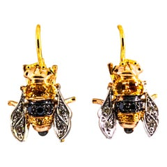 0.30 Carat Diamond 0.35 Yellow Sapphire Yellow Gold Lever-Back Bees Earrings