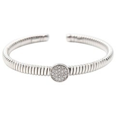 0.30 Carat Diamond 18 Karat White Gold Circle Flex Cuff Bracelet