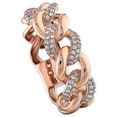 0.30 Carat Diamond Cuban Ring 18K Rose Gold Fashion Ring Round Cut Diamond Ring