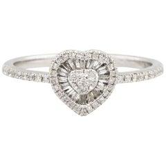 0.30 Carat Diamond Heart Shaped Ladies Ring 14 Karat in Stock