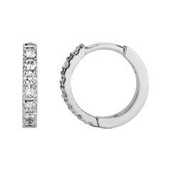 0.30 Carat Diamond Huggie Hoop Earrings in 14K White Gold, Shlomit Rogel