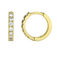 0.30 Carat Diamond Huggie Hoop Earrings in 14k Yellow Gold - Shlomit Rogel
