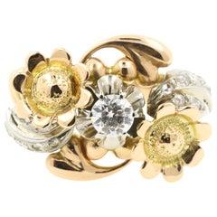 """0.30 Carat Diamond on 18 Karat Yellow Pink and White Gold """"Flowery"""" Ring"""